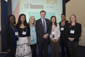 Jephtee Elysee (City of Ottawa), Kara Santokie (TWCA), Suzanne Doerge (CAWI), Mayor John Tory, Winnie Falkenstein (City of Toronto), Nadine Sookermany (Springtide), and Lois Emburg (City of Ottawa)